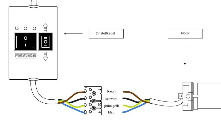 JAROLIFT Einstellkabel / Setzkabel für TDEP Rohrmotoren - Anschlussplan