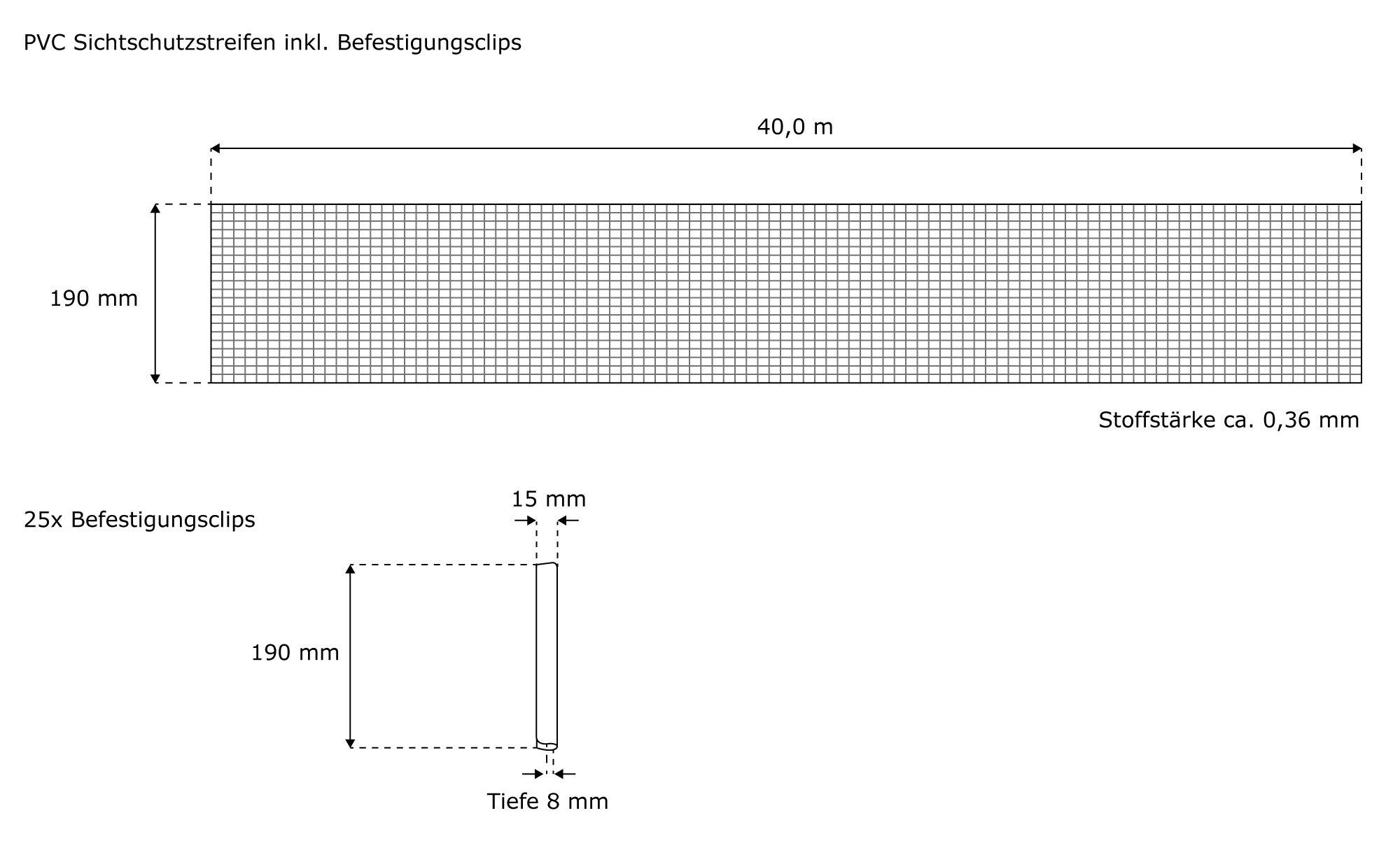 Jarolift PVC Sichschutzstreifen Bedarf an Material und Anzahl der Rollen a40m