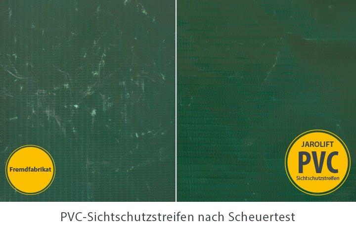 Jarolift-PVC Sichschutzstreifen Qualitaet Scheuertest