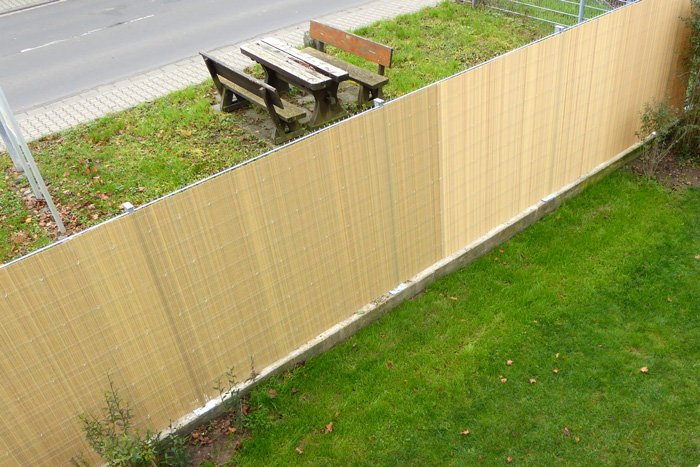 Jarolift PVC-Sichschutzmatten bambus Bank Impression