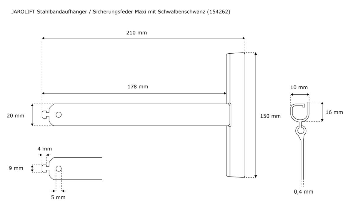 Die Maße des Stahlbandaufhänger / Sicherungsfeder MAXI